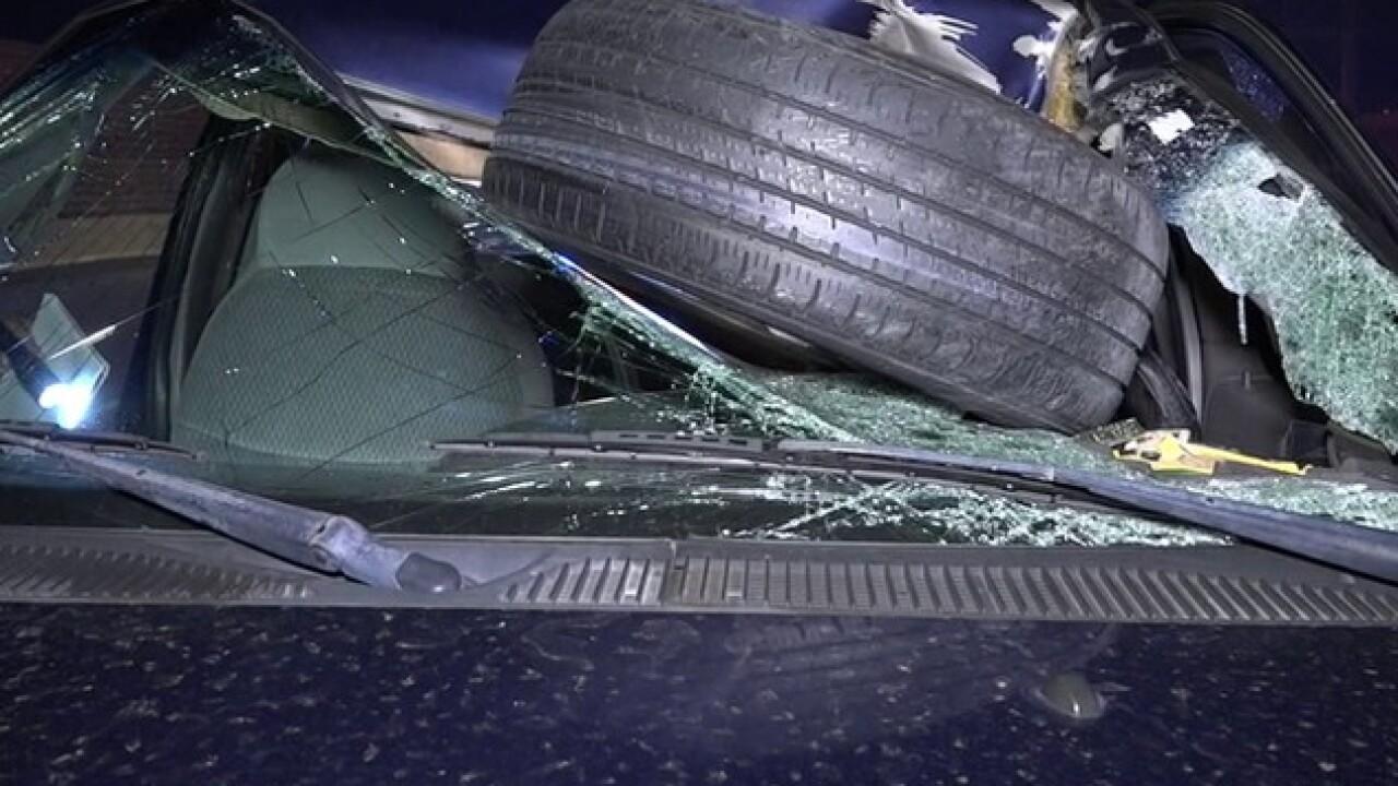 Free tire flies into truck windshield on freeway