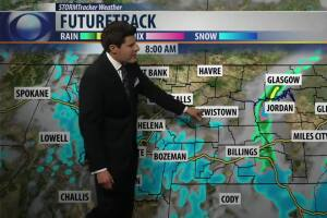 Temperatures fall below freezing with showers and mountain snow
