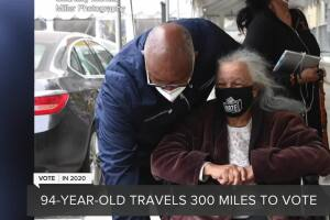 94-year-old woman drives 300 miles to vote in 2020 election