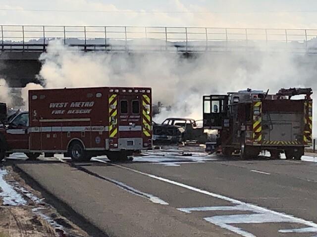 Crash scene on I-70 and Denver West Marriott Boulevard