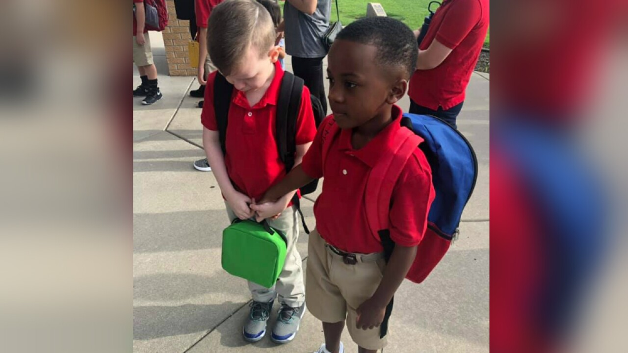 A boy with autism was crying on the first day of school. A new friend stepped in to help