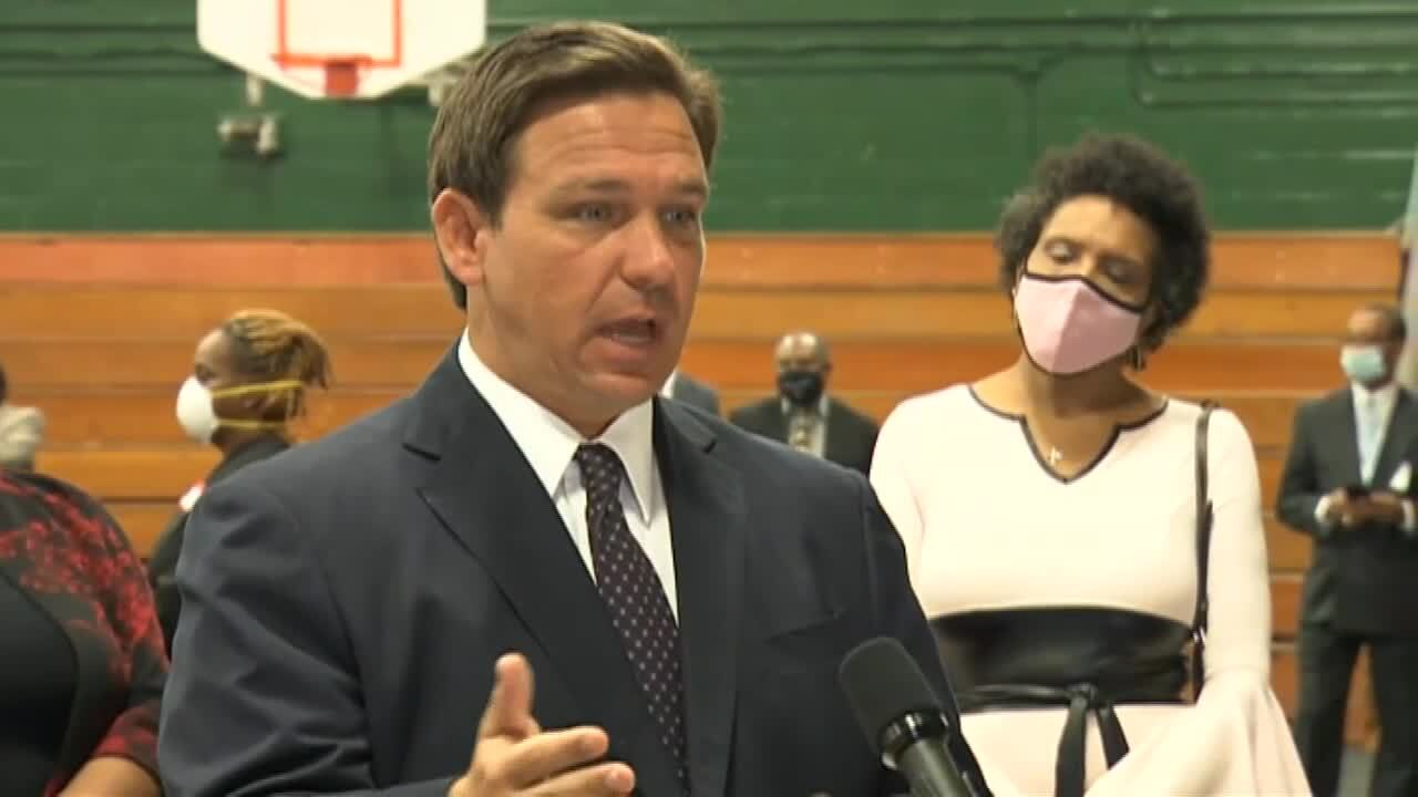 Gov. DeSantis speaking at a new vaccination site at Edward Waters College in Jacksonville