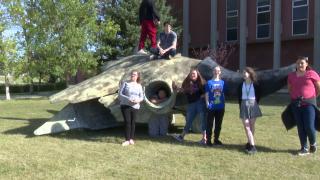 Huge bison head sculpture on display at CMR High School