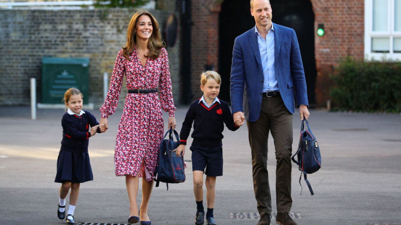 Princess Charlotte arrives for first day of school with Kate and William