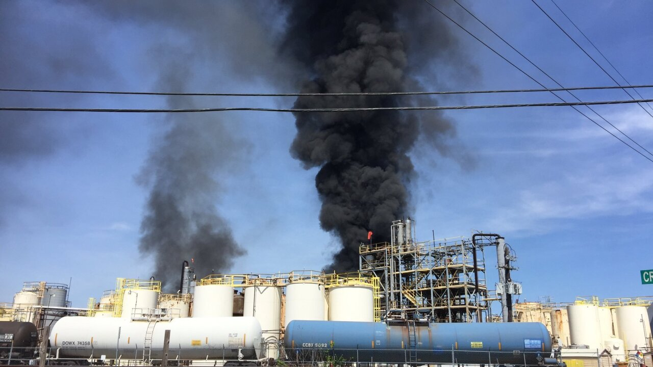 Chemical plant fire fills Texas sky with black smoke, residents told to shelter in place