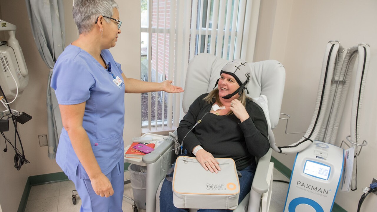 Cooling cap that prevents hair loss from chemotherapy offered at Michigan cancer center