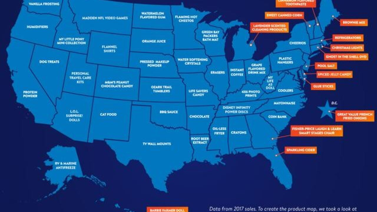 Most interesting items sold in each state by Walmart