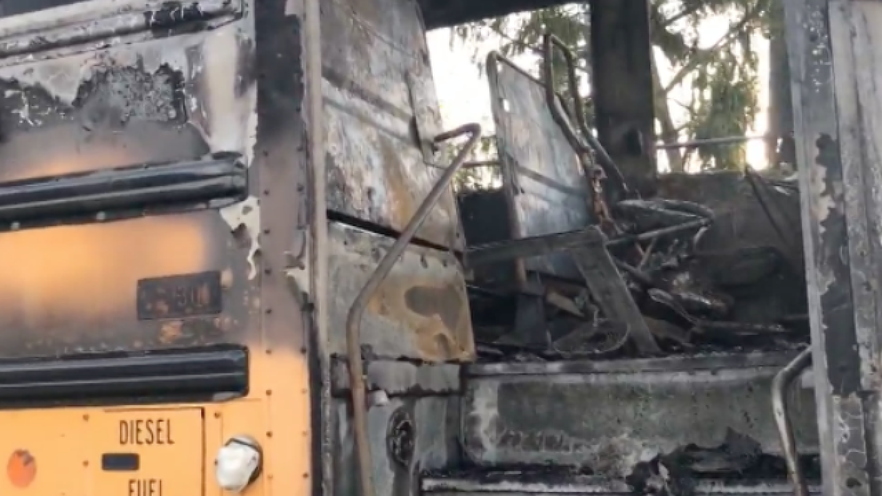 School bus fire: 'Flames shooting all over'
