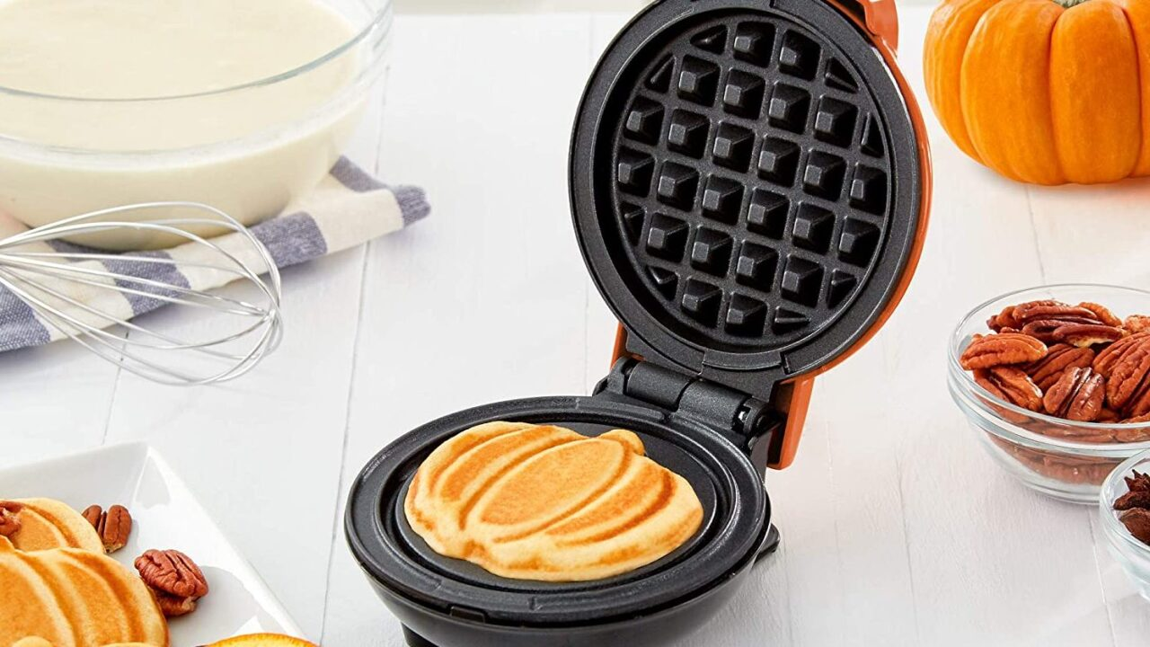 Buy mini pumpkin waffle maker for just $10