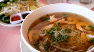 A bowl of shrimp pho.