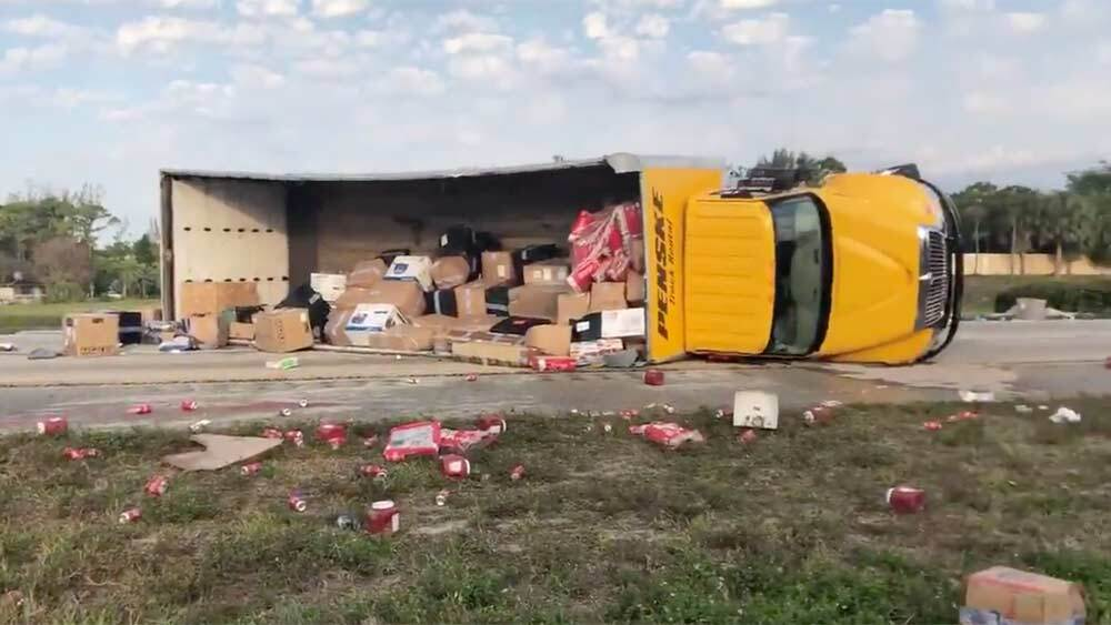 A box truck crashed on the southbound Turnpike near the Lake Worth Road exit on April 26, 2019.