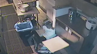 Restaurant burglar crashes through ceiling, falling into a kitchen