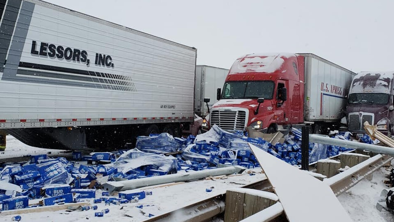10-vehicle crash spills beer on I-80, shuts down highway near Evanston for 7 hours