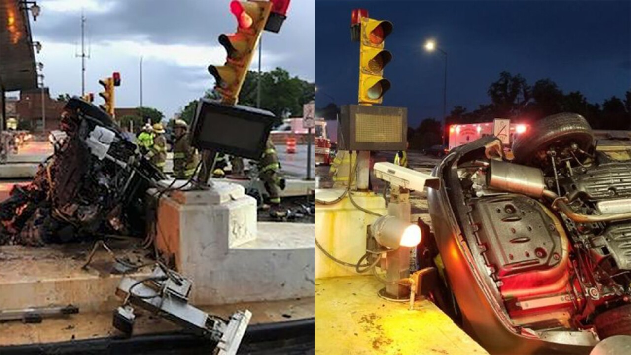 Bay Bridge toll plaza crash leaves car on its side, two