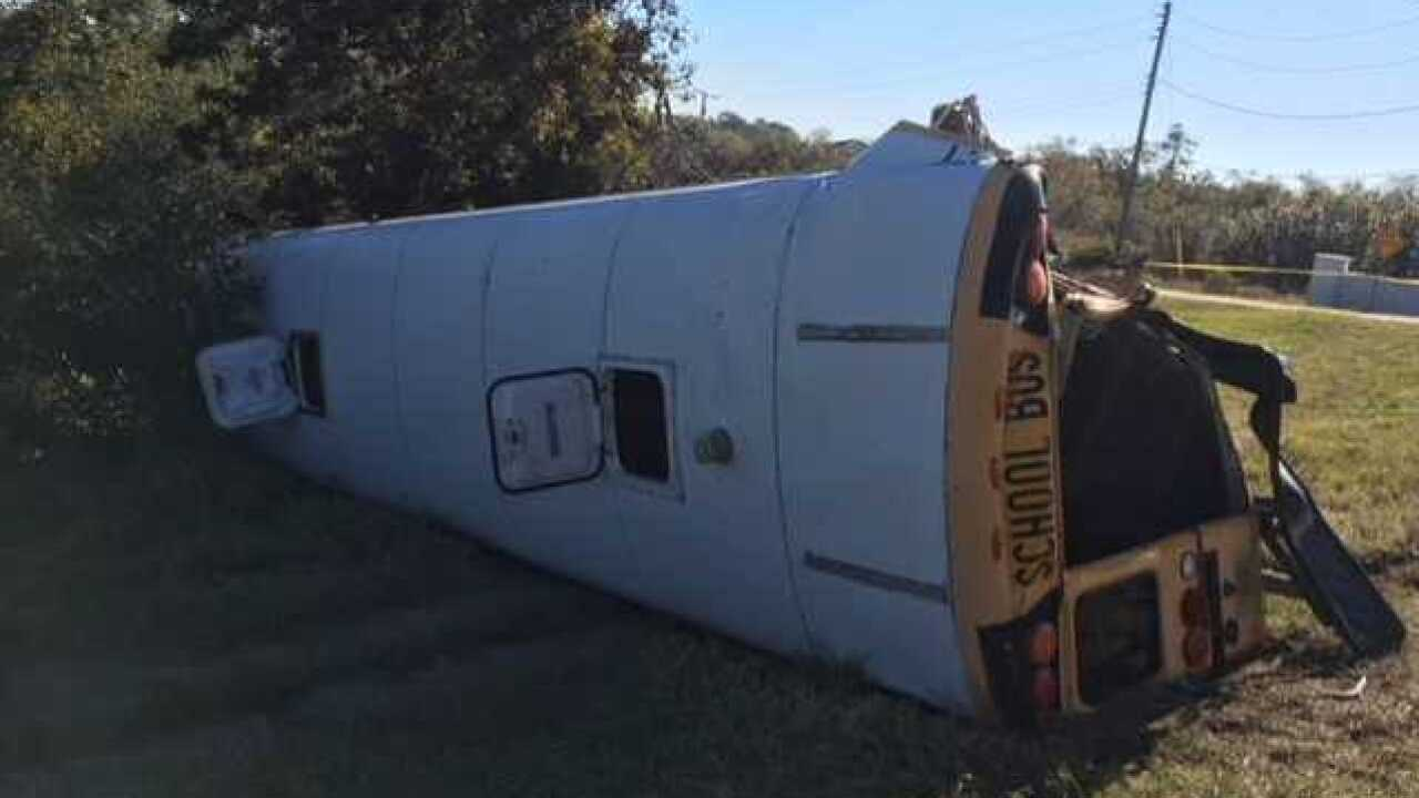Several students injured in school bus crash