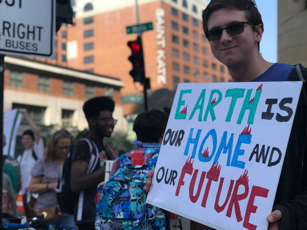 Crowd of protesters for climate change in Milwaukee