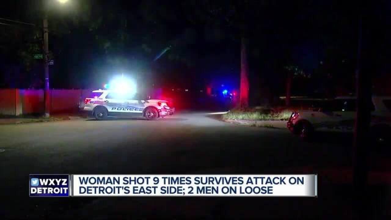 Woman shot nine times on Detroit's east side