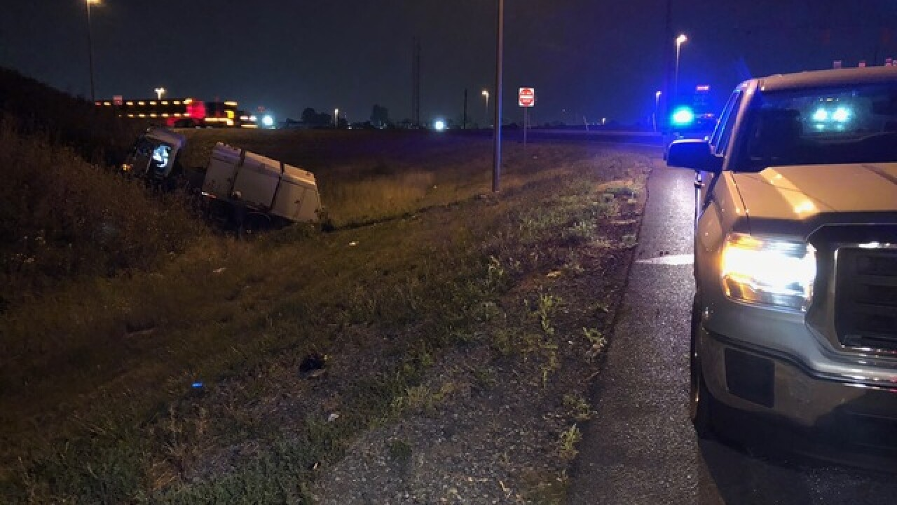 Car crashes into street sweeper on I-465