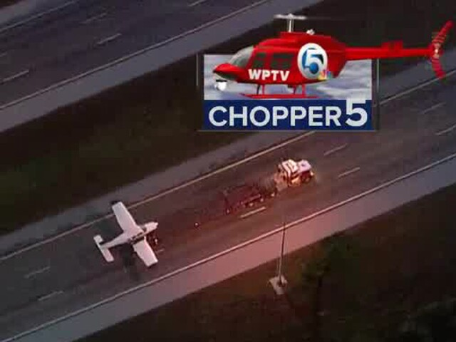 PHOTOS: Small plane lands on I-95 in Indian River County