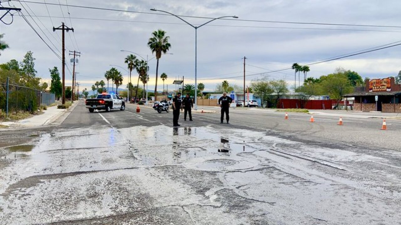 Tucson police closed westbound Miracle Mile at Fairview Tuesday after a water leak flooded the roadway.