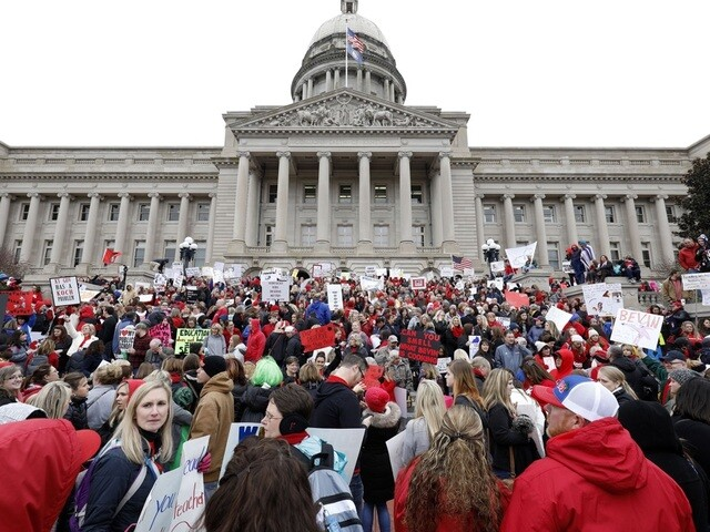 Thousands of teachers descend on Frankfort over education funding, pensions