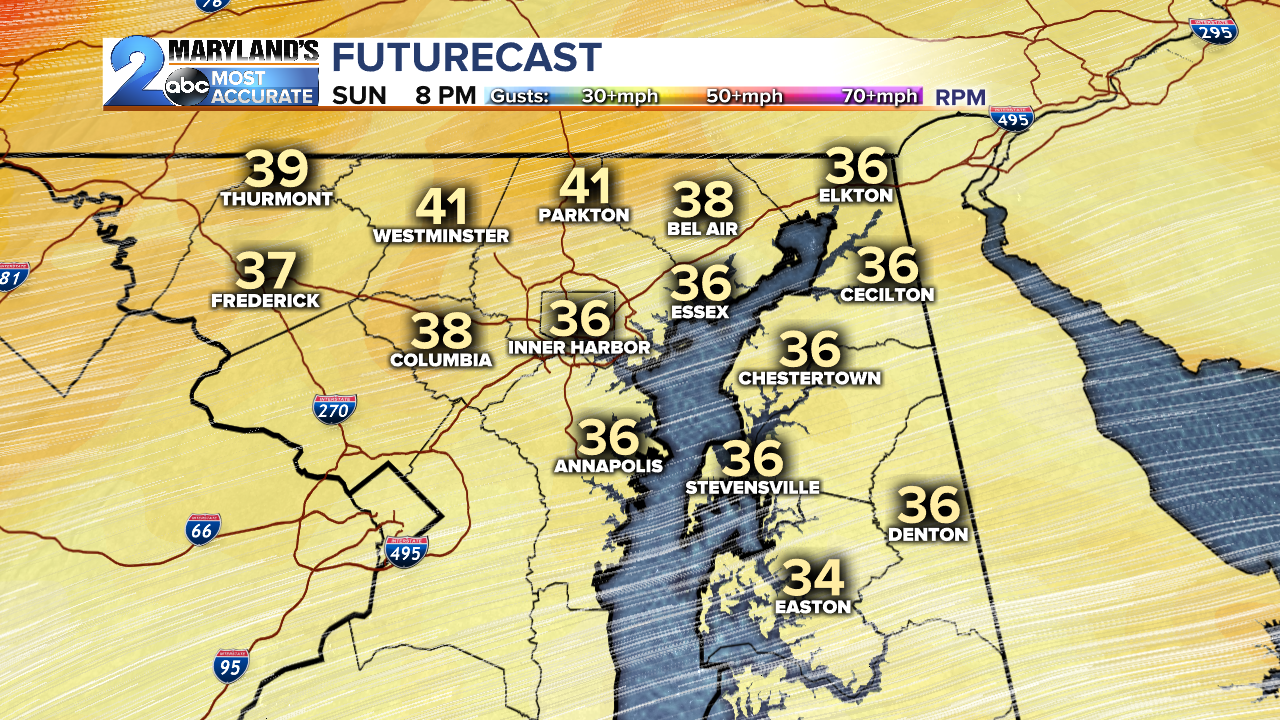 Wind Gust Forecast for Sunday