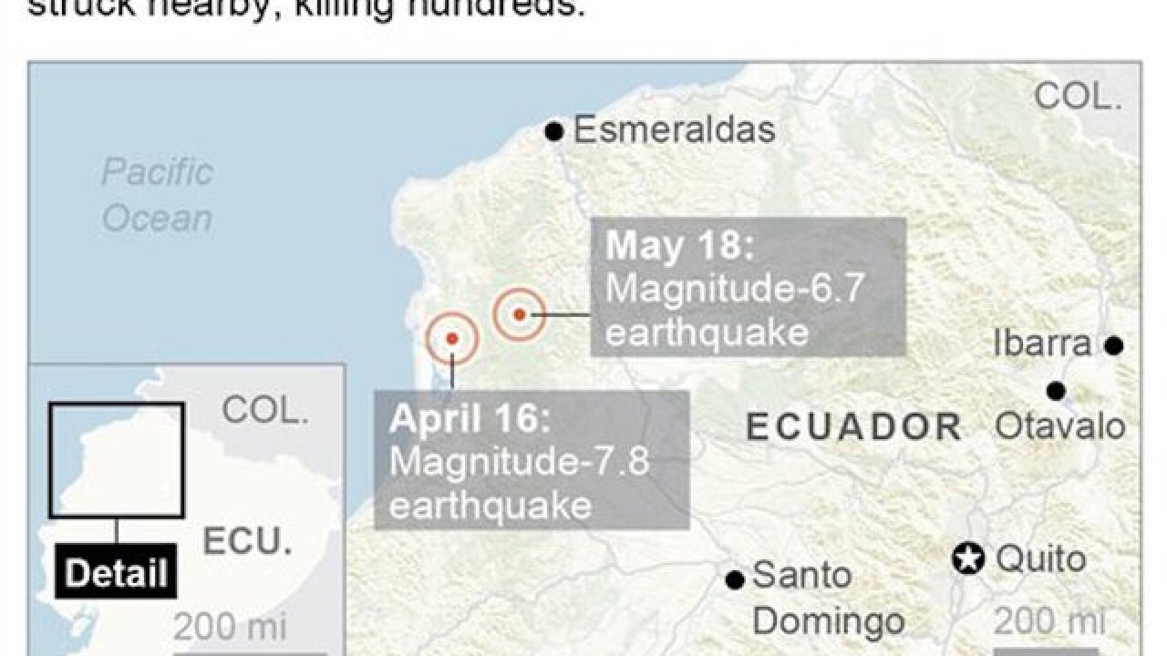 Report: 6.7-magnitude earthquake hits Ecuador