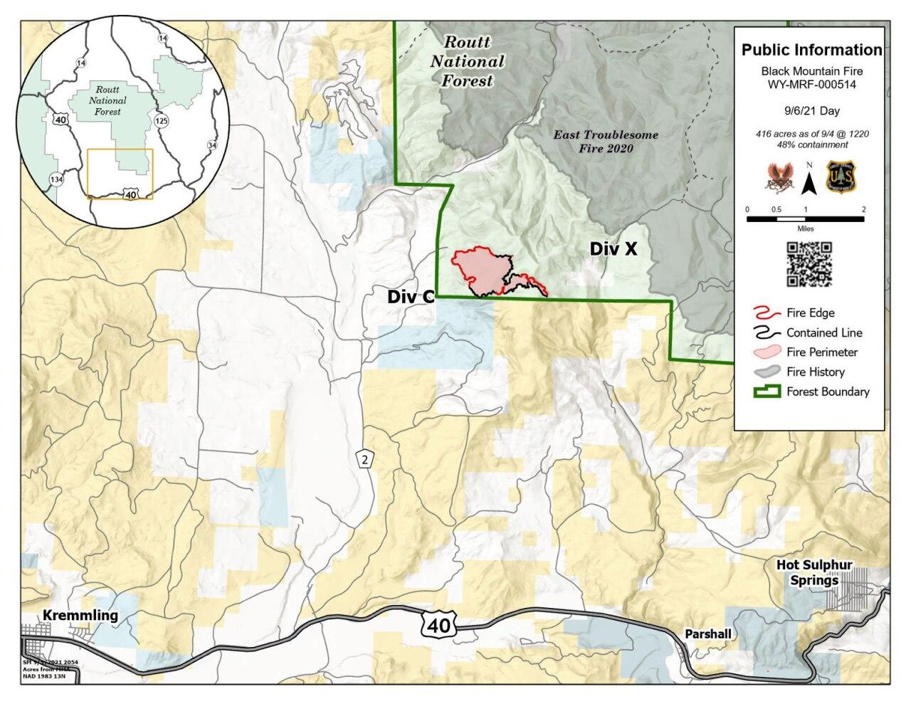 Black Mountain Fire map Sept 6 2021