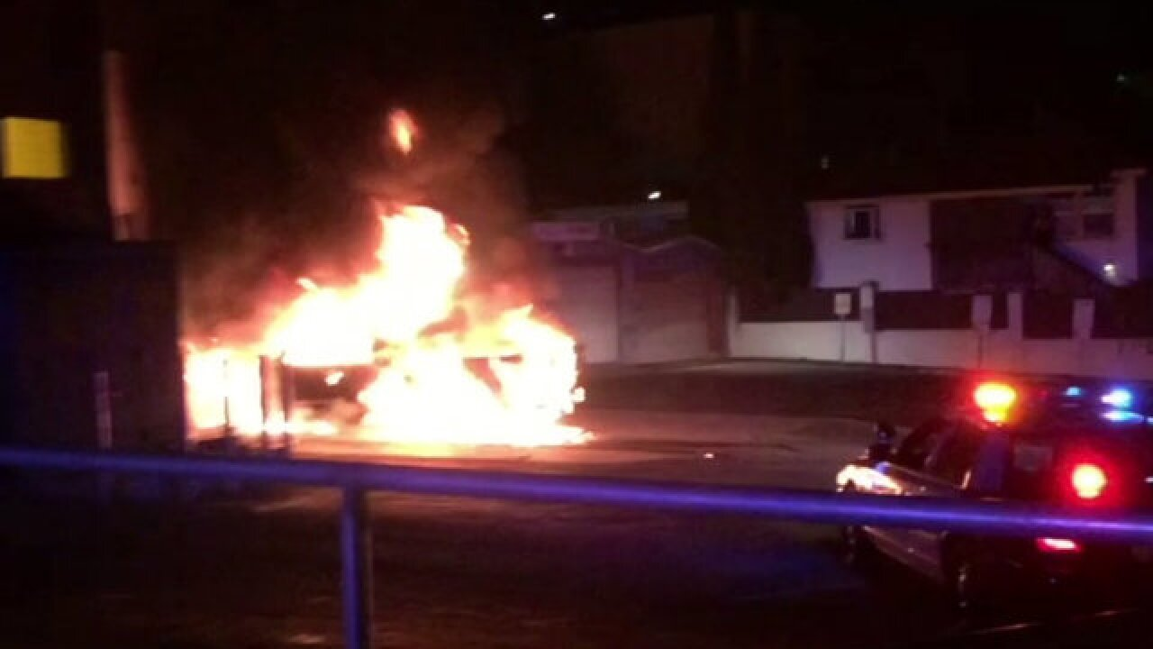 Truck bursts into flames outside OB businesses