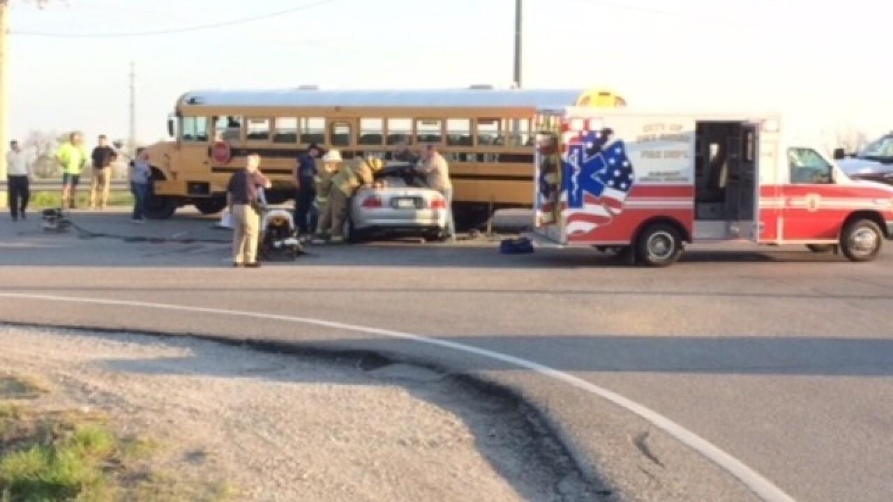 School bus crash sends man to hospital