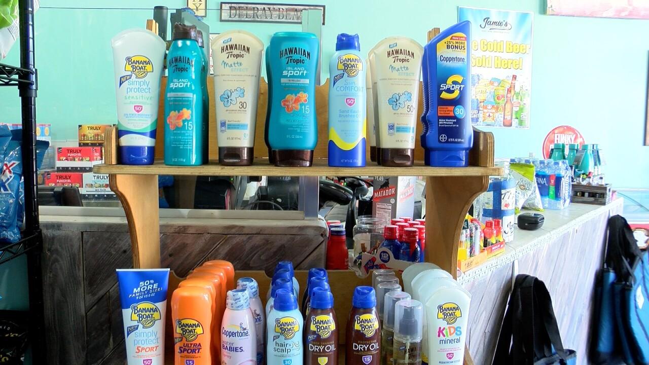 Banana Boat and Hawaiian Tropic sunscreens on display at Jamie's Convenience Store