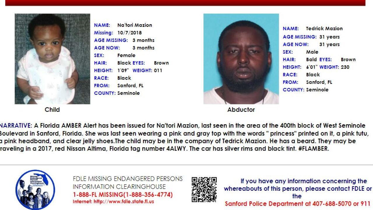 Florida Amber Alert issued for missing 3-month old from Sanford