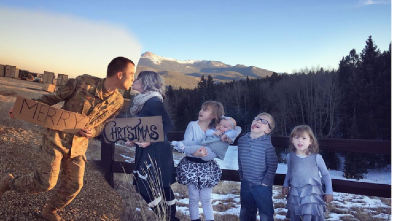 Military mom creates Christmas card to bring family together during deployment