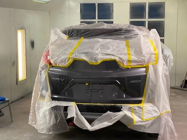 Honda CRV in painting bay