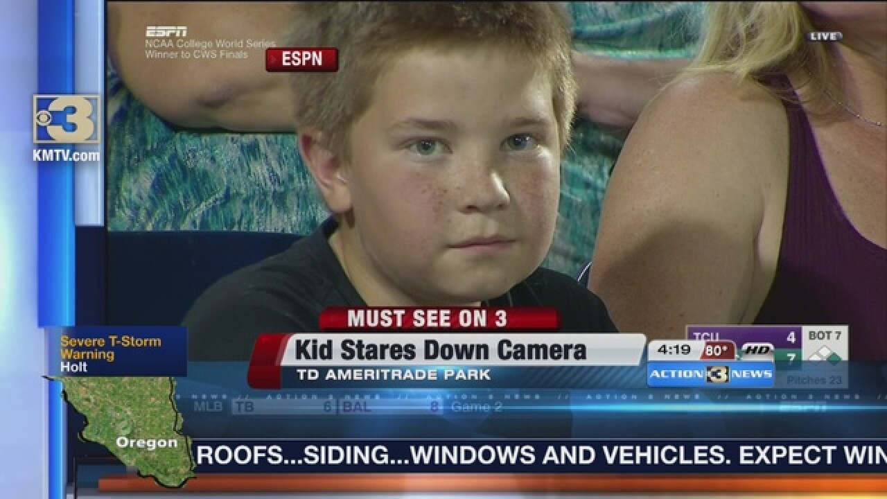 Boy stares down ESPN camera, becomes web hero