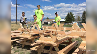 East Helena boy scouts build picnic tables to fund summer camp