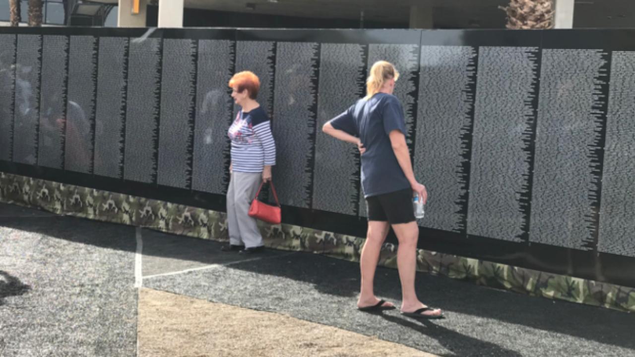 Vietnam Veterans Memorial moving wall on display