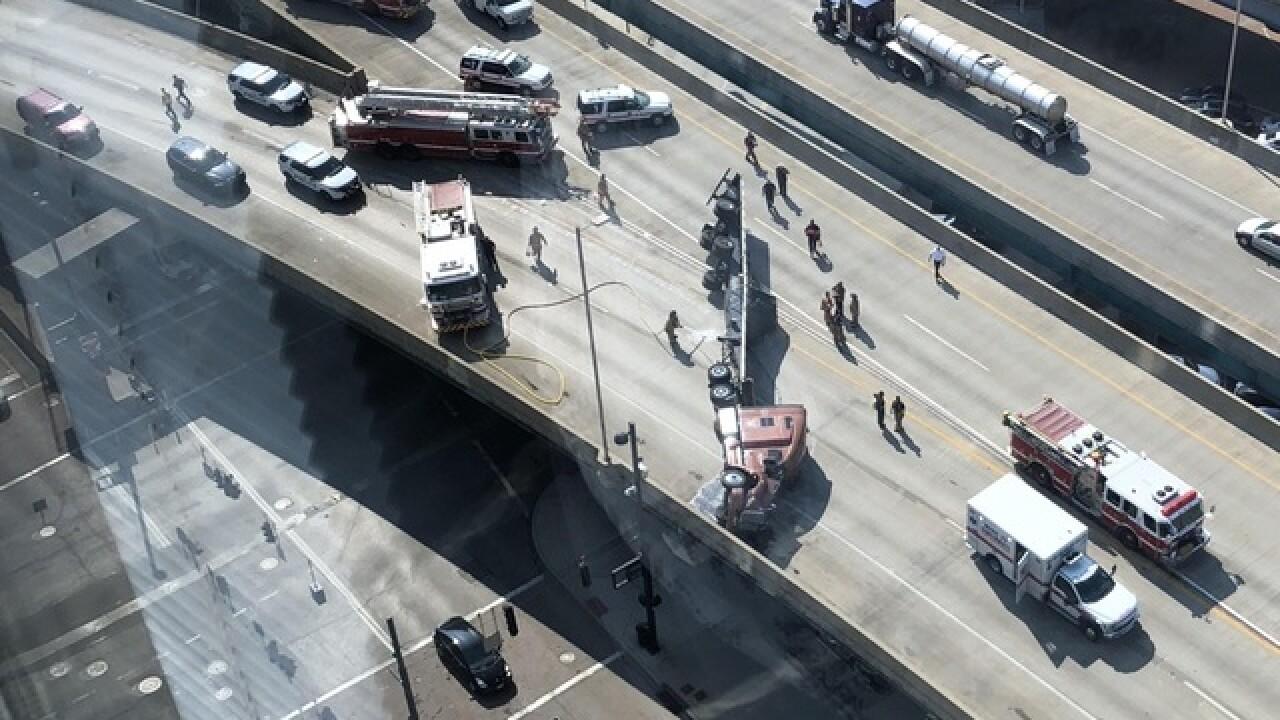 Overturned semi blocks Lytle Tunnel on SB I-71