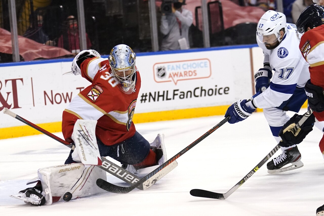 Florida Panthers goalie Spencer Knight blocks shot by Tampa Bay Lightning left wing Alex Killorn in Game 5 of playoff series, May 24, 2021