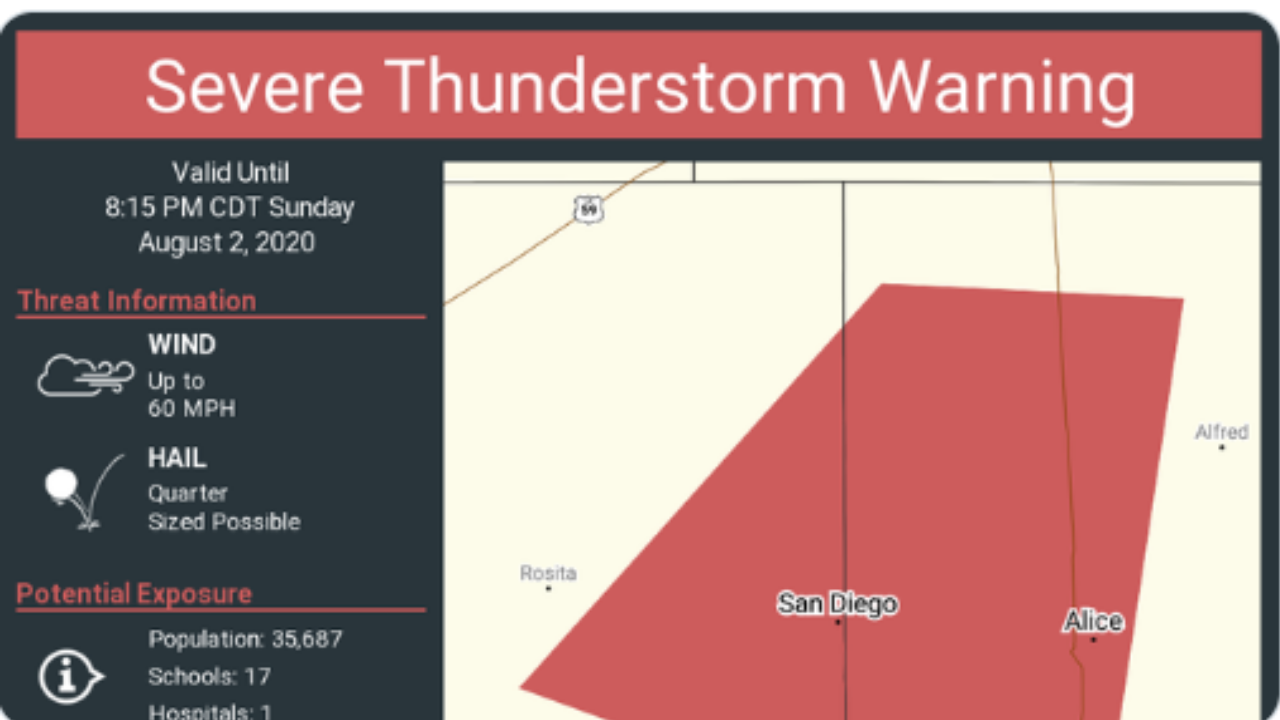 NWS issues severe thunderstorm warning for Jim Wells County
