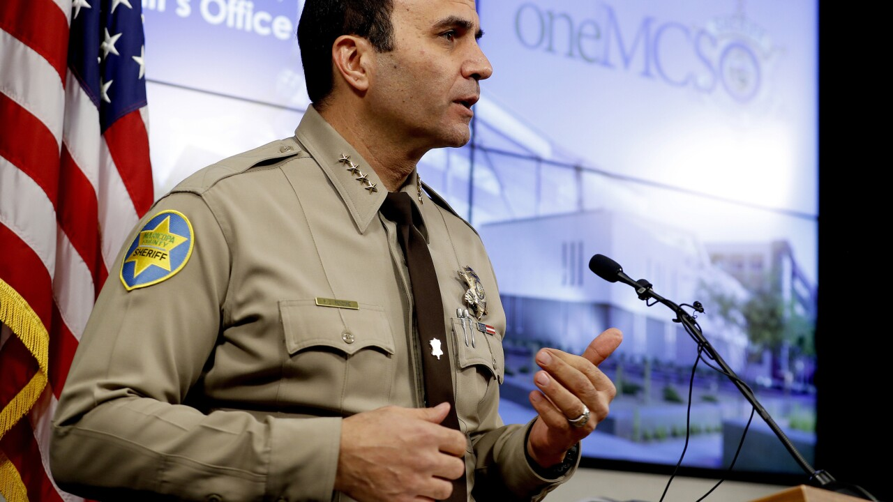Civil rights lawyers are seeking a civil contempt of court hearing against metro Phoenix's sheriff for a backlog of 2,000 internal affairs investigations each taking an average of 500 days to complete. Photo via AP.