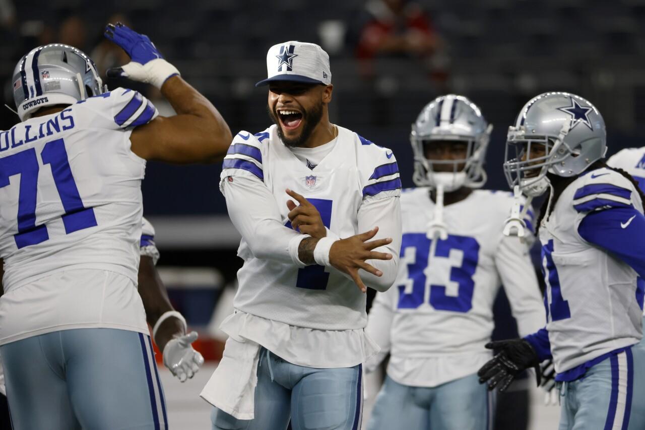 Dallas Cowboys QB Dak Prescott celebrates before 2021 preseason game