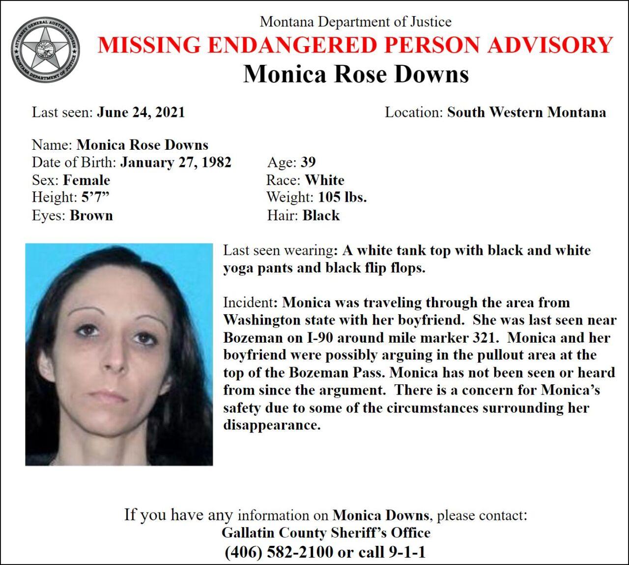 Missing-Endangered Person Advisory for Monica Rose Downs