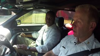 Rob Desir drives the beat with Richmond Police Chief William Smith