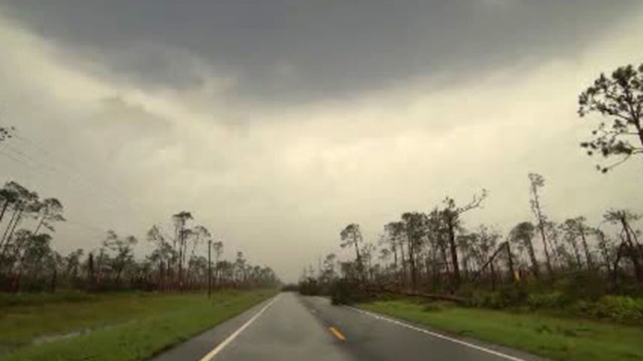 VIDEO: Storm chaser drives through Hurricane Michael's eye