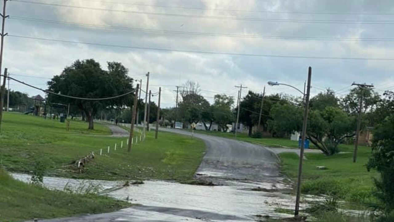 Flooding roads in Beeville - Photo from Facebook Weather Watcher Tammy K. Fox