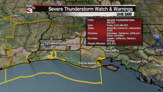 Severe Thunderstorm Watch issued for portion of Acadiana