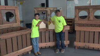 GFPS students built trash bins to place along River's Edge Trail