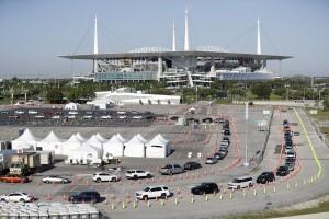 Coronavirus testing at Hard Rock Stadium in March 2020