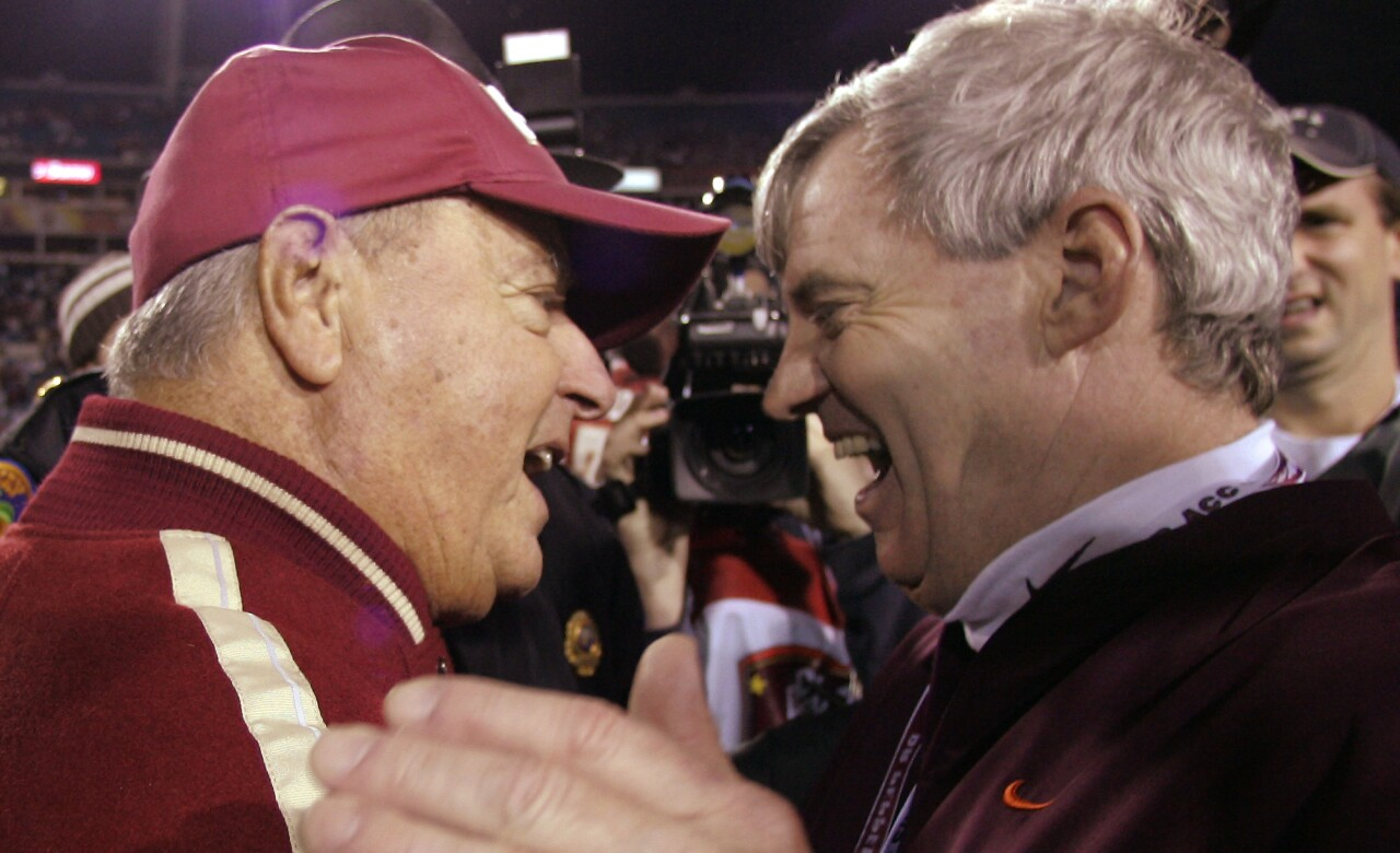 Florida State Seminoles head coach Bobby Bowden and Virginia Tech Hokies head coach Frank Beamer after 2005 ACC Championship game